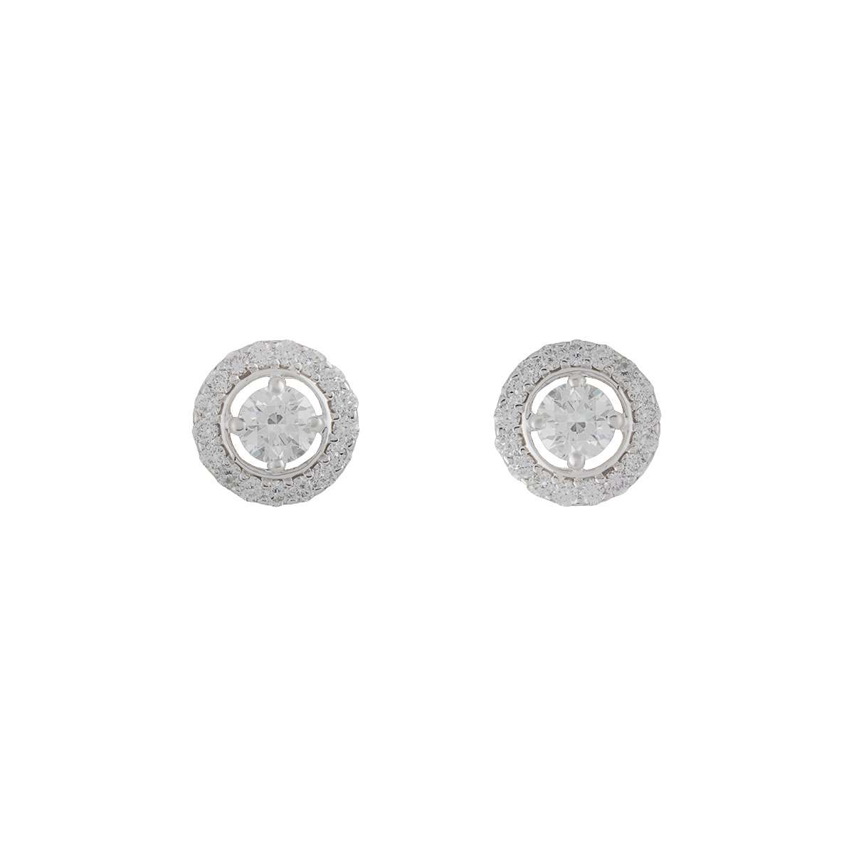18k White Gold Diamond Halo Earrings 1.33ct